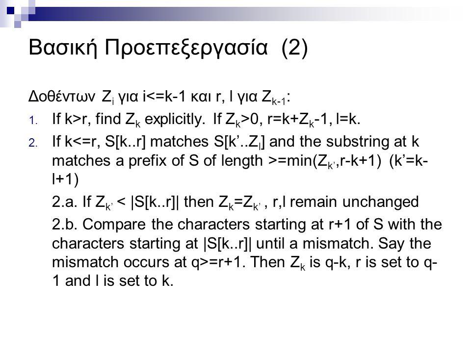 Βασική Προεπεξεργασία (2) Δοθέντων Z i για i<=k-1 και r, l για Z k-1 : 1. If k>r, find Z k explicitly. If Z k >0, r=k+Z k -1, l=k. 2. If k =min(Z k',r