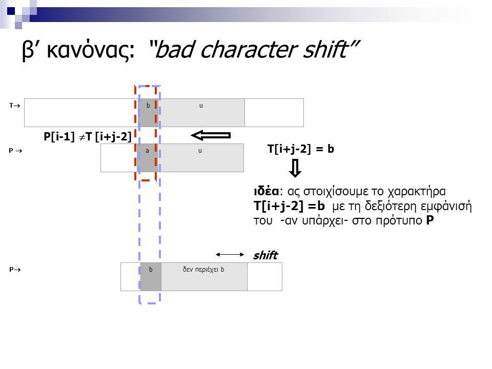 """β' κανόνας: """"bad character shift"""" TT bu P  au shift ιδέα: ας στοιχίσουμε το χαρακτήρα T[i+j-2] =b με τη δεξιότερη εμφάνισή του -αν υπάρχει- στο πρό"""