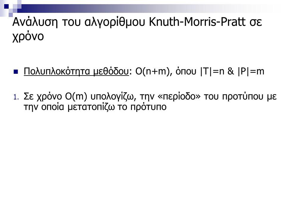 Ανάλυση του αλγορίθμου Knuth-Morris-Pratt σε χρόνο Πολυπλοκότητα μεθόδου: Ο(n+m), όπου |T|=n & |P|=m 1. Σε χρόνο O(m) υπολογίζω, την «περίοδο» του προ