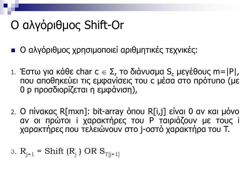 Ο αλγόριθμος Shift-Or O αλγόριθμος χρησιμοποιεί αριθμητικές τεχνικές: 1. Έστω για κάθε char c  Σ, το διάνυσμα S c μεγέθους m=|P|, που αποθηκεύει τις