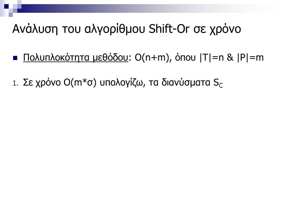 Ανάλυση του αλγορίθμου Shift-Or σε χρόνο Πολυπλοκότητα μεθόδου: Ο(n+m), όπου |T|=n & |P|=m 1. Σε χρόνο O(m*σ) υπολογίζω, τα διανύσματα S C