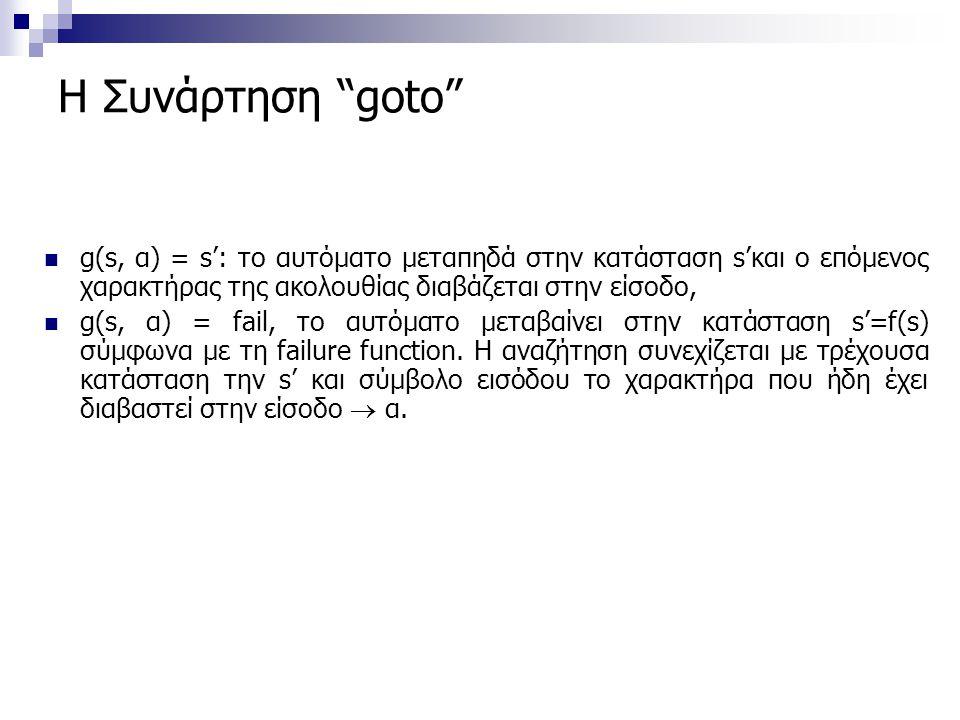 """Η Συνάρτηση """"goto"""" g(s, α) = s': το αυτόματο μεταπηδά στην κατάσταση s'και ο επόμενος χαρακτήρας της ακολουθίας διαβάζεται στην είσοδο, g(s, α) = fail"""