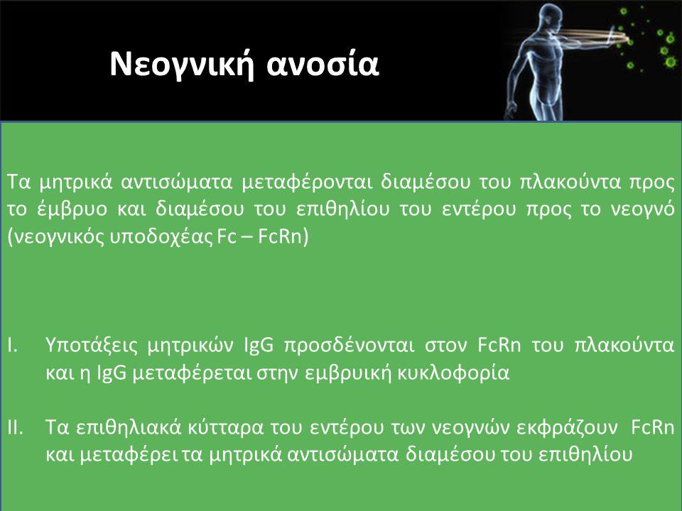 Νεογνική ανοσία Τα μητρικά αντισώματα μεταφέρονται διαμέσου του πλακούντα προς το έμβρυο και διαμέσου του επιθηλίου του εντέρου προς το νεογνό (νεογνι