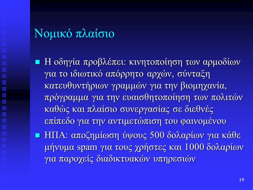 18 Νομικό πλαίσιο 2002: η Ευρωπαϊκή Επιτροπή παρουσίασε μέτρα για την αντιμετώπιση του πολλαπλασιασμού των spam μηνυμάτων 2002: η Ευρωπαϊκή Επιτροπή παρουσίασε μέτρα για την αντιμετώπιση του πολλαπλασιασμού των spam μηνυμάτων 2002: το Ευρωπαϊκό Κοινοβούλιο ενέκρινε Οδηγία που αφορά στην προστασία των προσωπικών δεδομένων των Ευρωπαίων πολιτών, τα οποία συλλέγονται από τη χρήση δικτύων τηλεπικοινωνιών και του Διαδικτύου και το 2003 παρουσίασε χρονοδιάγραμμα για την υλοποίησή της 2002: το Ευρωπαϊκό Κοινοβούλιο ενέκρινε Οδηγία που αφορά στην προστασία των προσωπικών δεδομένων των Ευρωπαίων πολιτών, τα οποία συλλέγονται από τη χρήση δικτύων τηλεπικοινωνιών και του Διαδικτύου και το 2003 παρουσίασε χρονοδιάγραμμα για την υλοποίησή της