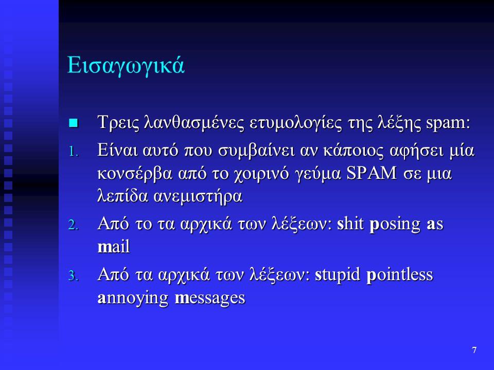 7 Εισαγωγικά Τρεις λανθασμένες ετυμολογίες της λέξης spam: Τρεις λανθασμένες ετυμολογίες της λέξης spam: 1.