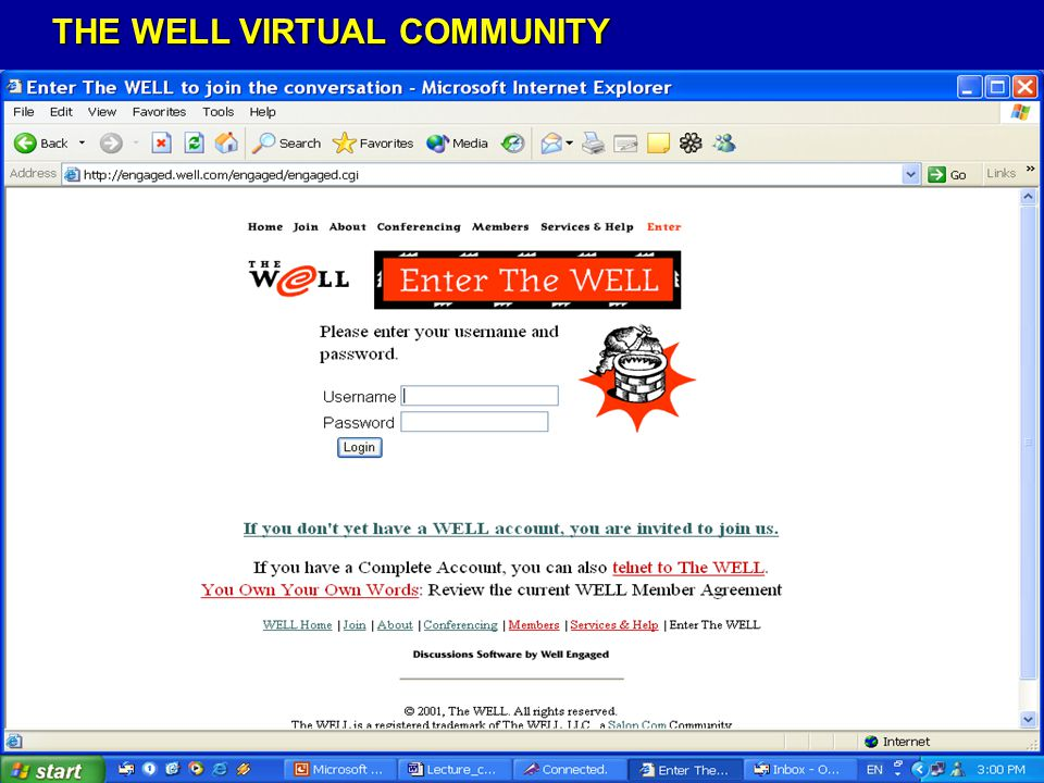 THE WELL VIRTUAL COMMUNITY