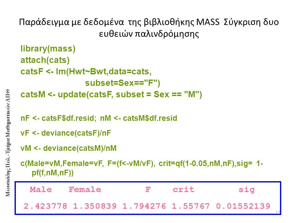 Μωυσιάδης Πολ.-Τμήμα Μαθηματικών ΑΠΘ Παράδειγμα με δεδομένα της βιβλιοθήκης MASS Σύγκριση δυο ευθειών παλινδρόμησης 12 library(mass) attach(cats) catsF <- lm(Hwt~Bwt,data=cats, subset=Sex== F ) catsM <- update(catsF, subset = Sex == M ) nF <- catsF$df.resid; nM <- catsM$df.resid vF <- deviance(catsF)/nF vM <- deviance(catsM)/nM c(Male=vM,Female=vF, F=(f<-vM/vF), crit=qf(1-0.05,nM,nF),sig= 1- pf(f,nM,nF)) Male Female F crit sig 2.423778 1.350839 1.794276 1.55767 0.01552139