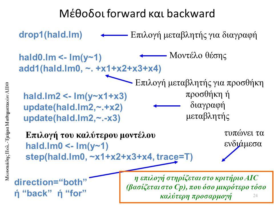 Μωυσιάδης Πολ.-Τμήμα Μαθηματικών ΑΠΘ Μέθοδοι forward και backward 24 drop1(hald.lm) Επιλογή μεταβλητής για διαγραφή hald0.lm <- lm(y~1) add1(hald.lm0, ~.