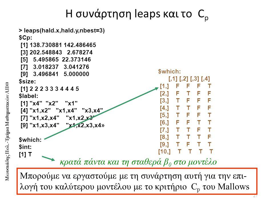 Μωυσιάδης Πολ.-Τμήμα Μαθηματικών ΑΠΘ Η συνάρτηση leaps και το C p 27 > leaps(hald.x,hald.y,nbest=3) $Cp: [1] 138.730881 142.486465 [3] 202.548843 2.678274 [5] 5.495865 22.373146 [7] 3.018237 3.041276 [9] 3.496841 5.000000 $size: [1] 2 2 2 3 3 3 4 4 4 5 $label: [1] x4 x2 x1 [4] x1,x2 x1,x4 x3,x4 [7] x1,x2,x4 x1,x2,x3 [9] x1,x3,x4 x1,x2,x3,x4» $which: $int: [1] T $which: [,1] [,2] [,3] [,4] [1,] F F F T [2,] F T F F [3,] T F F F [4,] T T F F [5,] T F F T [6,] F F T T [7,] T T F T [8,] T T T F [9,] T F T T [10,] T T T T Μπορούμε να εργαστούμε με τη συνάρτηση αυτή για την επι- λογή του καλύτερου μοντέλου με το κριτήριο C p του Mallows κρατά πάντα και τη σταθερά β 0 στο μοντέλο