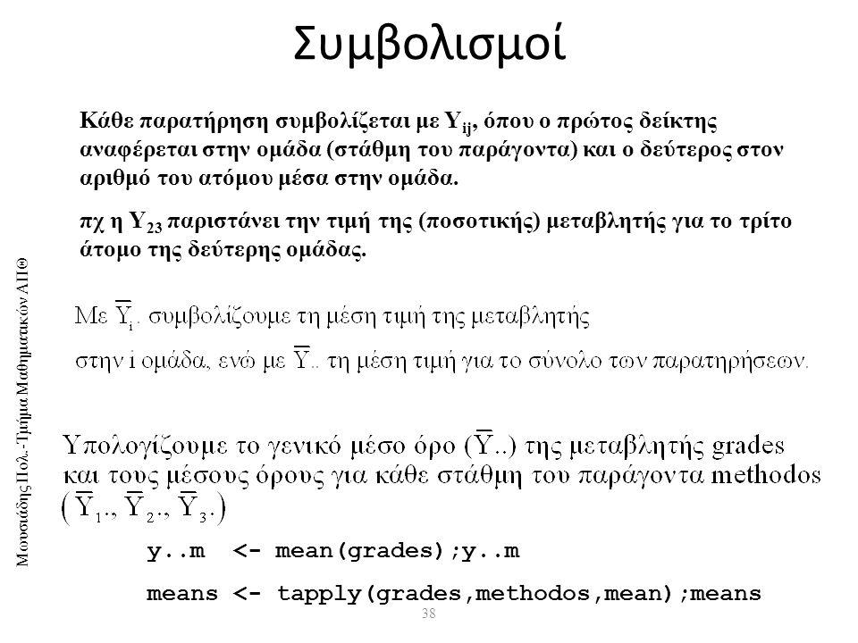Μωυσιάδης Πολ.-Τμήμα Μαθηματικών ΑΠΘ 38 Συμβολισμοί y..m <- mean(grades);y..m means <- tapply(grades,methodos,mean);means Κάθε παρατήρηση συμβολίζεται με Υ ij, όπου ο πρώτος δείκτης αναφέρεται στην ομάδα (στάθμη του παράγοντα) και ο δεύτερος στον αριθμό του ατόμου μέσα στην ομάδα.