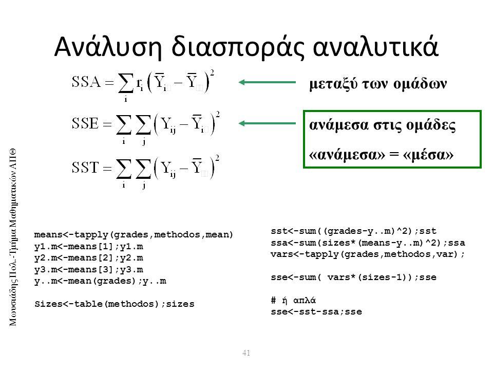 Μωυσιάδης Πολ.-Τμήμα Μαθηματικών ΑΠΘ 41 Ανάλυση διασποράς αναλυτικά means<-tapply(grades,methodos,mean) y1.m<-means[1];y1.m y2.m<-means[2];y2.m y3.m<-means[3];y3.m y..m<-mean(grades);y..m Sizes<-table(methodos);sizes sst<-sum((grades-y..m)^2);sst ssa<-sum(sizes*(means-y..m)^2);ssa vars<-tapply(grades,methodos,var); sse<-sum( vars*(sizes-1));sse # ή απλά sse<-sst-ssa;sse μεταξύ των ομάδων ανάμεσα στις ομάδες «ανάμεσα» = «μέσα»