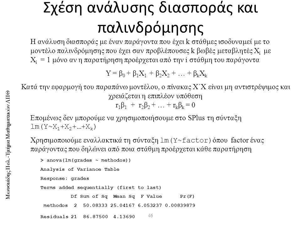 Μωυσιάδης Πολ.-Τμήμα Μαθηματικών ΑΠΘ 46 Σχέση ανάλυσης διασποράς και παλινδρόμησης H ανάλυση διασποράς με έναν παράγοντα που έχει k στάθμες ισοδυναμεί με το μοντέλο παλινδρόμησης που έχει σαν προβλέπουσες k βωβές μεταβλητές X i με X i = 1 μόνο αν η παρατήρηση προέρχεται από την i στάθμη του παράγοντα Υ = β 0 + β 1 Χ 1 + β 2 Χ 2 + … + β k Χ k Κατά την εφαρμογή του παραπάνω μοντέλου, ο πίνακας X΄X είναι μη αντιστρέψιμος και χρειάζεται η επιπλέον υπόθεση r 1 β 1 + r 2 β 2 + … + r k β k = 0 Επομένως δεν μπορούμε να χρησιμοποιήσουμε στο SPlus τη σύνταξη lm(Y~X 1 +X 2 +…+X k ) Χρησιμοποιούμε εναλλακτικά τη σύνταξη lm(Y~factor) όπου factor ένας παράγοντας που δηλώνει από ποια στάθμη προέρχεται κάθε παρατήρηση > anova(lm(grades ~ methodos)) Analysis of Variance Table Response: grades Terms added sequentially (first to last) Df Sum of Sq Mean Sq F Value Pr(F) methodos 2 50.08333 25.04167 6.053237 0.00839879 Residuals 21 86.87500 4.13690