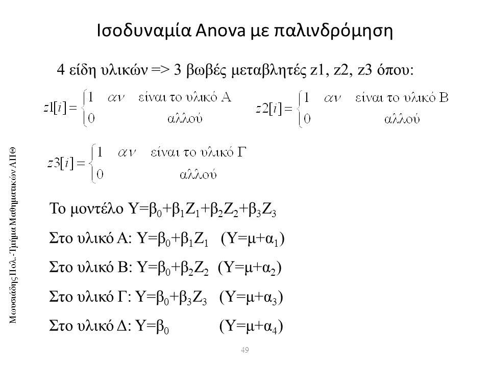 Μωυσιάδης Πολ.-Τμήμα Μαθηματικών ΑΠΘ 49 Ισοδυναμία Anova με παλινδρόμηση 4 είδη υλικών => 3 βωβές μεταβλητές z1, z2, z3 όπου: Το μοντέλο Υ=β 0 +β 1 Ζ 1 +β 2 Ζ 2 +β 3 Ζ 3 Στο υλικό Α: Υ=β 0 +β 1 Ζ 1 (Υ=μ+α 1 ) Στο υλικό Β: Υ=β 0 +β 2 Ζ 2 (Υ=μ+α 2 ) Στο υλικό Γ: Υ=β 0 +β 3 Ζ 3 (Υ=μ+α 3 ) Στο υλικό Δ: Υ=β 0 (Υ=μ+α 4 )
