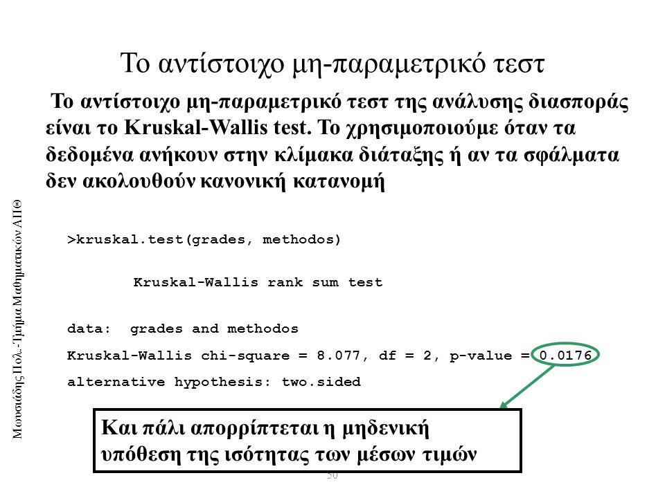 Μωυσιάδης Πολ.-Τμήμα Μαθηματικών ΑΠΘ 50 Το αντίστοιχο μη-παραμετρικό τεστ >kruskal.test(grades, methodos) Kruskal-Wallis rank sum test data: grades and methodos Kruskal-Wallis chi-square = 8.077, df = 2, p-value = 0.0176 alternative hypothesis: two.sided Το αντίστοιχο μη-παραμετρικό τεστ της ανάλυσης διασποράς είναι το Kruskal-Wallis test.