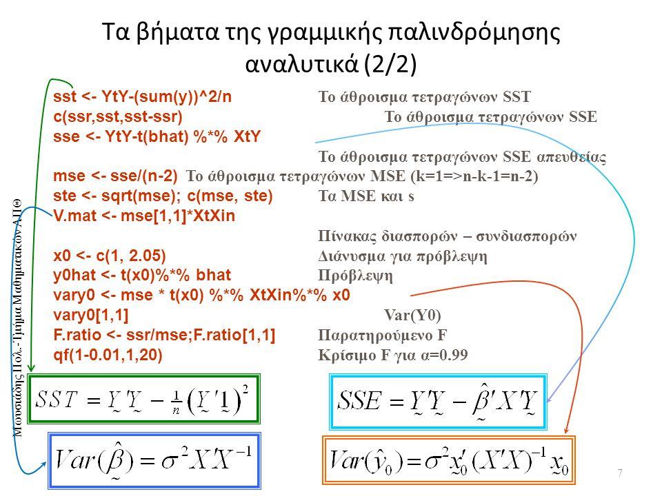 Μωυσιάδης Πολ.-Τμήμα Μαθηματικών ΑΠΘ Τα βήματα της γραμμικής παλινδρόμησης αναλυτικά (2/2) 7 sst <- YtY-(sum(y))^2/n Το άθροισμα τετραγώνων SST c(ssr,sst,sst-ssr) Το άθροισμα τετραγώνων SSE sse <- YtY-t(bhat) %*% XtY Το άθροισμα τετραγώνων SSE απευθείας mse n-k-1=n-2) ste <- sqrt(mse); c(mse, ste) Τα ΜSE και s V.mat <- mse[1,1]*XtXin Πίνακας διασπορών – συνδιασπορών x0 <- c(1, 2.05) Διάνυσμα για πρόβλεψη y0hat <- t(x0)%*% bhat Πρόβλεψη vary0 <- mse * t(x0) %*% XtXin%*% x0 vary0[1,1] Var(Y0) F.ratio <- ssr/mse;F.ratio[1,1] Παρατηρούμενο F qf(1-0.01,1,20) Κρίσιμο F για α=0.99