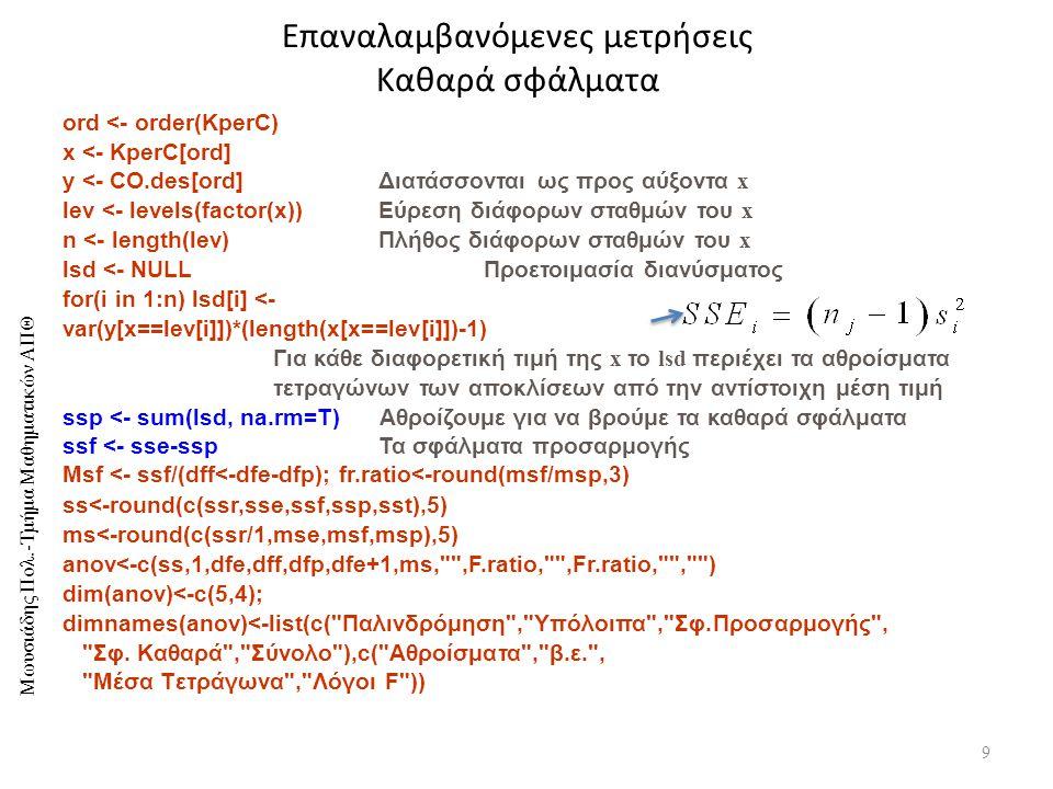 Μωυσιάδης Πολ.-Τμήμα Μαθηματικών ΑΠΘ Επαναλαμβανόμενες μετρήσεις Καθαρά σφάλματα 9 ord <- order(KperC) x <- KperC[ord] y <- CO.des[ord] Διατάσσονται ως προς αύξοντα x lev <- levels(factor(x))Εύρεση διάφορων σταθμών του x n <- length(lev) Πλήθος διάφορων σταθμών του x lsd <- NULL Προετοιμασία διανύσματος for(i in 1:n) lsd[i] <- var(y[x==lev[i]])*(length(x[x==lev[i]])-1) Για κάθε διαφορετική τιμή της x το lsd περιέχει τα αθροίσματα τετραγώνων των αποκλίσεων από την αντίστοιχη μέση τιμή ssp <- sum(lsd, na.rm=T) Αθροίζουμε για να βρούμε τα καθαρά σφάλματα ssf <- sse-ssp Τα σφάλματα προσαρμογής Msf <- ssf/(dff<-dfe-dfp); fr.ratio<-round(msf/msp,3) ss<-round(c(ssr,sse,ssf,ssp,sst),5) ms<-round(c(ssr/1,mse,msf,msp),5) anov<-c(ss,1,dfe,dff,dfp,dfe+1,ms, ,F.ratio, ,Fr.ratio, , ) dim(anov)<-c(5,4); dimnames(anov)<-list(c( Παλινδρόμηση , Υπόλοιπα , Σφ.Προσαρμογής , Σφ.