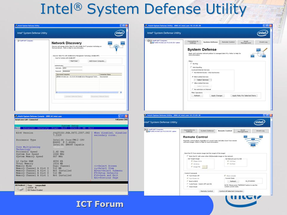 Intel Confidential 15 ICT Forum Intel ® System Defense Utility