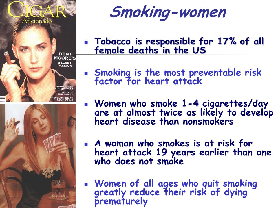 Tobacco is responsible for 17% of all female deaths in the US Tobacco is responsible for 17% of all female deaths in the US Smoking is the most preven