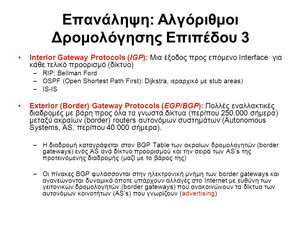 Επανάληψη: Αλγόριθμοι Δρομολόγησης Επιπέδου 3 Interior Gateway Protocols (IGP): Μια έξοδος προς επόμενο Interface για κάθε τελικό προορισμό (δίκτυο) –