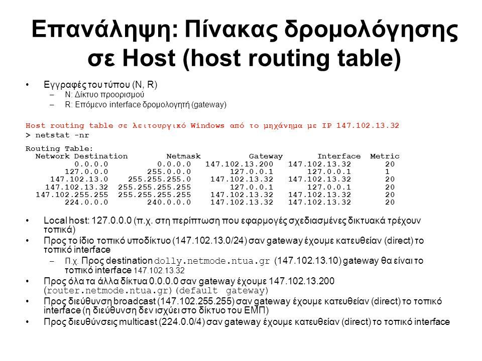 Επανάληψη: Πίνακας δρομολόγησης σε Host (host routing table) Εγγραφές του τύπου (N, R) –N: Δίκτυο προορισμού –R: Επόμενο interface δρομολογητή (gatewa