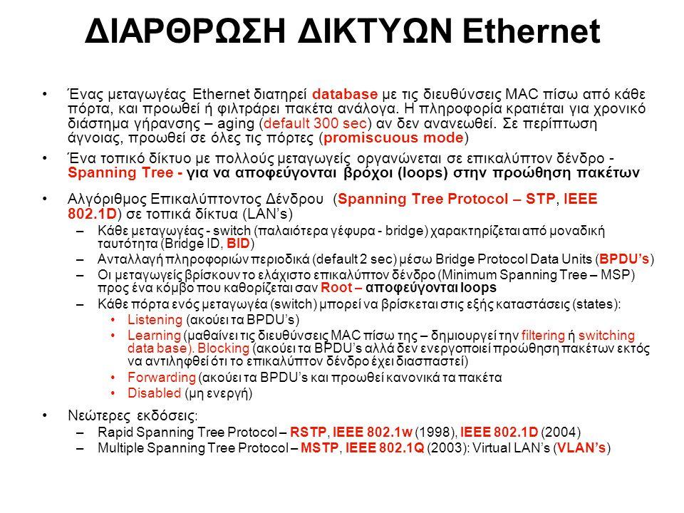 PE: Provider Edge Bridge CE: Customer Edge Bridge RB: Regular Bridge Provider Network CE PE Regular bridges Customer Network RB Επέκταση Τοπικών Δικτύων Ethernet σε Δίκτυα Παρόχων (Provider Backbone Bridges PBB) PBB, IEEE 802.1ah (2007): Επέκταση Ethernet (GigE, 10 Gig) σε Μητροπολιτικά Δίκτυα (MAN's) & WANs – – Τυποποίηση πρωτοκόλλων VPLS, MAC-in-MAC και Q-in-Q για επέκταση VLAN's μεταξύ τοπικών δικτύων LAN's με διαχείριση ποιότητας υπηρεσίας – – Προς συρρίκνωση τοπολογίας επιπέδου 3  collapsed backbone με μηχανισμούς μεταφοράς επιπέδου 2: 10 Gig point-to-point Ethernet transport