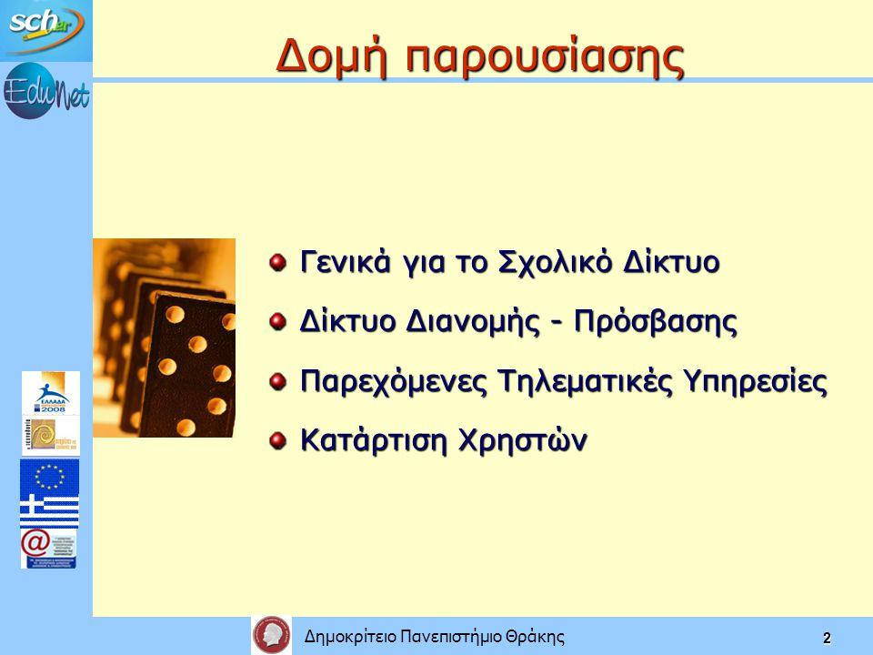 Δημοκρίτειο Πανεπιστήμιο Θράκης 2 Δομή παρουσίασης Γενικά για το Σχολικό Δίκτυο Δίκτυο Διανομής - Πρόσβασης Παρεχόμενες Τηλεματικές Υπηρεσίες Κατάρτιση Χρηστών