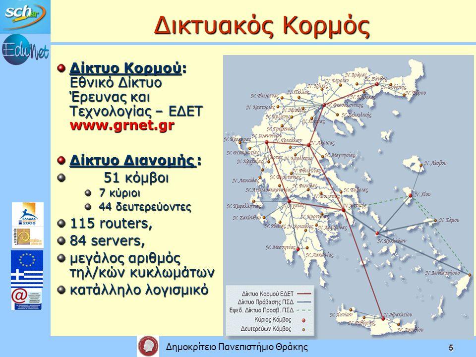 Δημοκρίτειο Πανεπιστήμιο Θράκης 5 Δικτυακός Κορμός Δίκτυο Κορμού: Εθνικό Δίκτυο Έρευνας και Τεχνολογίας – ΕΔΕΤ www.grnet.gr Δίκτυο Διανομής : 51 κόμβοι 7 κύριοι 44 δευτερεύοντες 115 routers, 84 servers, μεγάλος αριθμός τηλ/κών κυκλωμάτων κατάλληλο λογισμικό
