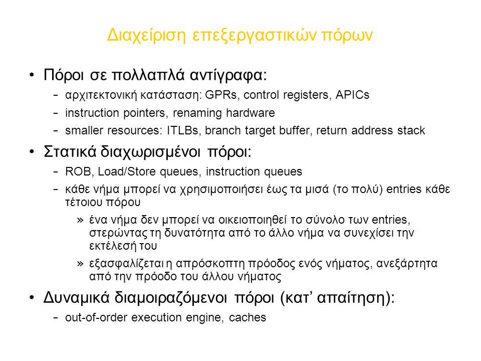 Διαχείριση επεξεργαστικών πόρων Πόροι σε πολλαπλά αντίγραφα: – αρχιτεκτονική κατάσταση: GPRs, control registers, APICs – instruction pointers, renaming hardware – smaller resources: ITLBs, branch target buffer, return address stack Στατικά διαχωρισμένοι πόροι: – ROB, Load/Store queues, instruction queues – κάθε νήμα μπορεί να χρησιμοποιήσει έως τα μισά (το πολύ) entries κάθε τέτοιου πόρου » ένα νήμα δεν μπορεί να οικειοποιηθεί το σύνολο των entries, στερώντας τη δυνατότητα από το άλλο νήμα να συνεχίσει την εκτέλεσή του » εξασφαλίζεται η απρόσκοπτη πρόοδος ενός νήματος, ανεξάρτητα από την πρόοδο του άλλου νήματος Δυναμικά διαμοιραζόμενοι πόροι (κατ' απαίτηση): – out-of-order execution engine, caches
