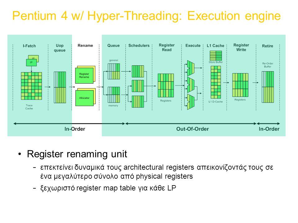 Pentium 4 w/ Hyper-Threading: Execution engine Register renaming unit – επεκτείνει δυναμικά τους architectural registers απεικονίζοντάς τους σε ένα μεγαλύτερο σύνολο από physical registers – ξεχωριστό register map table για κάθε LP