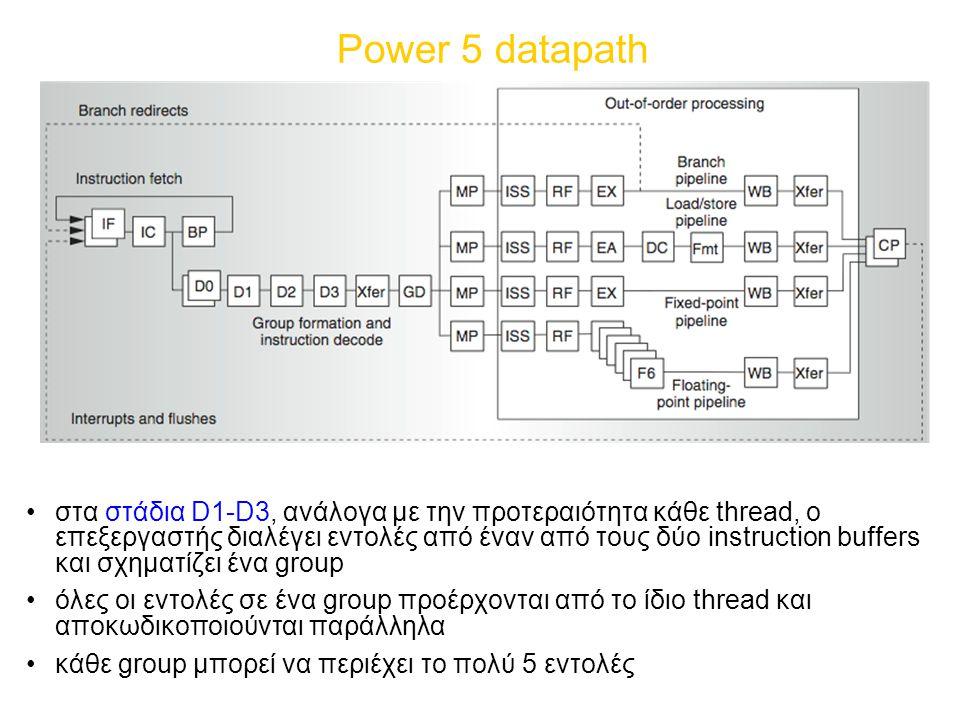 Power 5 datapath στα στάδια D1-D3, ανάλογα με την προτεραιότητα κάθε thread, ο επεξεργαστής διαλέγει εντολές από έναν από τους δύο instruction buffers και σχηματίζει ένα group όλες οι εντολές σε ένα group προέρχονται από το ίδιο thread και αποκωδικοποιούνται παράλληλα κάθε group μπορεί να περιέχει το πολύ 5 εντολές