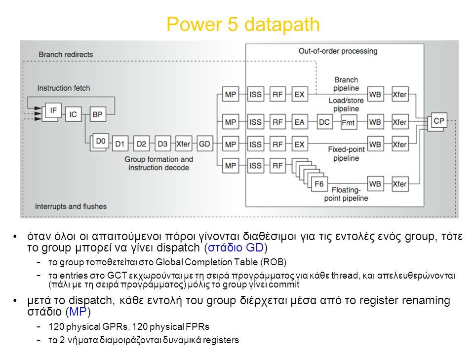 Power 5 datapath όταν όλοι οι απαιτούμενοι πόροι γίνονται διαθέσιμοι για τις εντολές ενός group, τότε το group μπορεί να γίνει dispatch (στάδιο GD) – το group τοποθετείται στο Global Completion Table (ROB) – τα entries στο GCT εκχωρούνται με τη σειρά προγράμματος για κάθε thread, και απελευθερώνονται (πάλι με τη σειρά προγράμματος) μόλις το group γίνει commit μετά το dispatch, κάθε εντολή του group διέρχεται μέσα από το register renaming στάδιο (MP) – 120 physical GPRs, 120 physical FPRs – τα 2 νήματα διαμοιράζονται δυναμικά registers