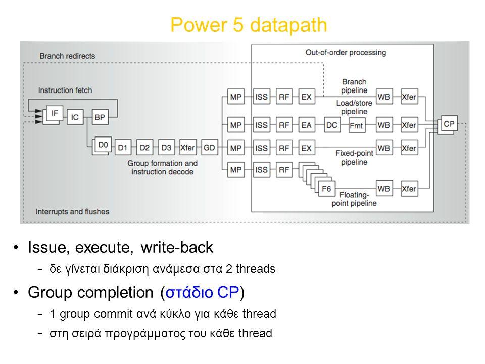 Power 5 datapath Issue, execute, write-back – δε γίνεται διάκριση ανάμεσα στα 2 threads Group completion (στάδιο CP) – 1 group commit ανά κύκλο για κάθε thread – στη σειρά προγράμματος του κάθε thread
