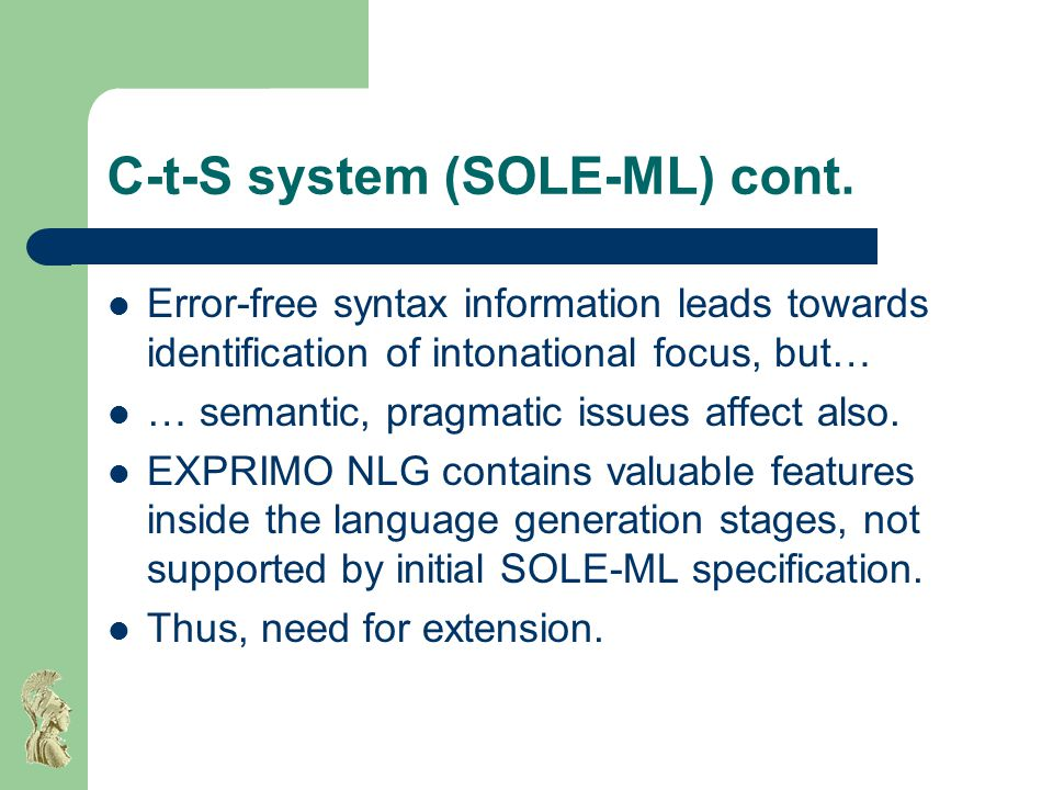 C-t-S system (SOLE-ML) cont.
