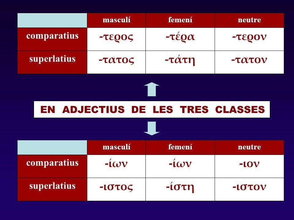 masculífemeníneutre comparatius -τερος-τέρα-τερον superlatius -τατος-τάτη-τατον masculífemeníneutre comparatius -ίων -ιον superlatius -ιστος-ίστη-ιστο