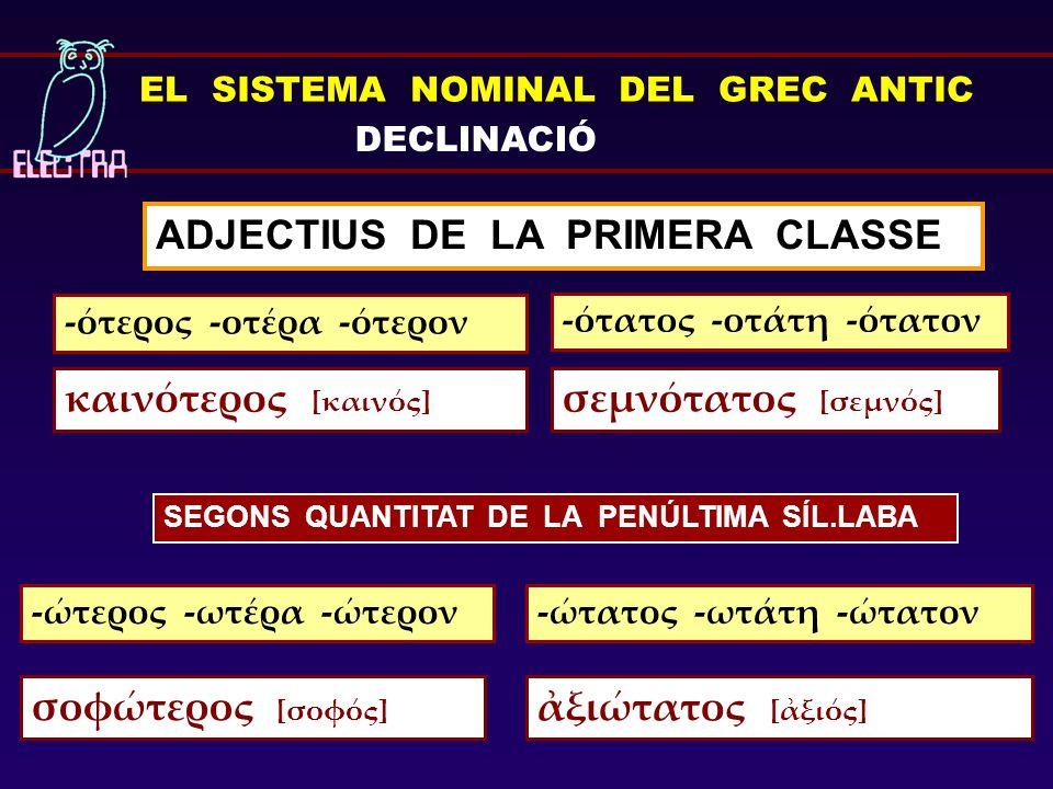 ADJECTIUS DE LA PRIMERA CLASSE -ότερος -οτέρα -ότερον -ώτερος -ωτέρα -ώτερον EL SISTEMA NOMINAL DEL GREC ANTIC DECLINACIÓ -ότατος -οτάτη -ότατον -ώτατ