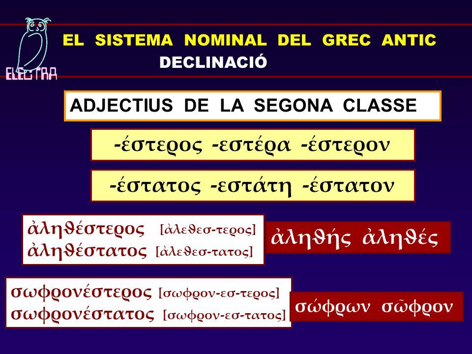 ADJECTIUS DE LA SEGONA CLASSE -έστερος -εστέρα -έστερον EL SISTEMA NOMINAL DEL GREC ANTIC DECLINACIÓ ἀληϑέστερος [ἀλεϑεσ-τερος] ἀληϑέστατος [ἀλεϑεσ-τα