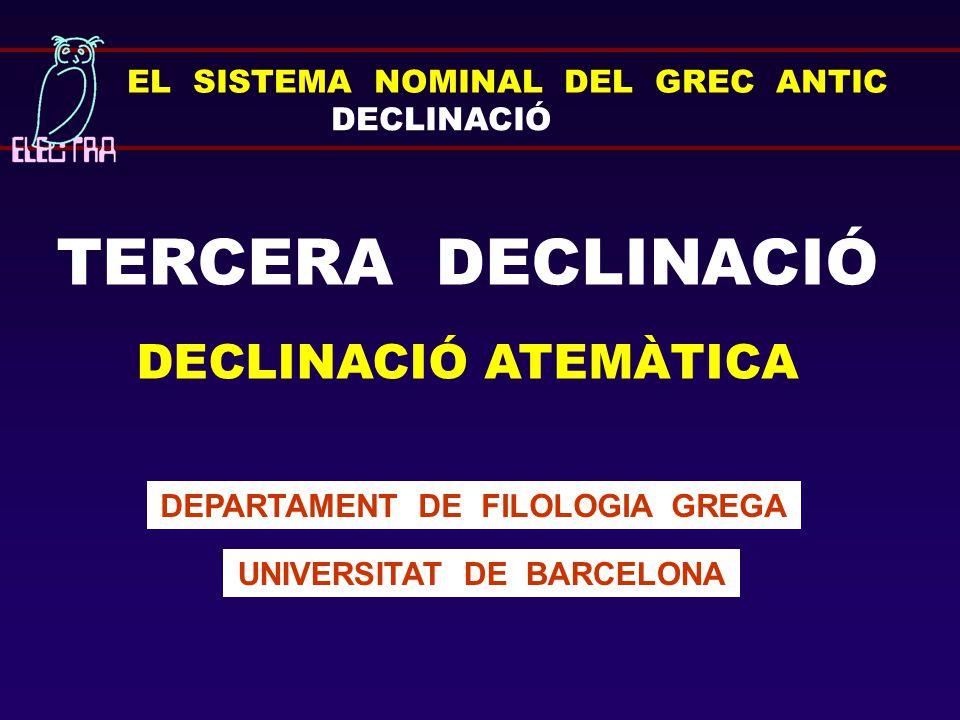 EL SISTEMA NOMINAL DEL GREC ANTIC DECLINACIÓ TERCERA DECLINACIÓ DECLINACIÓ ATEMÀTICA DEPARTAMENT DE FILOLOGIA GREGA UNIVERSITAT DE BARCELONA