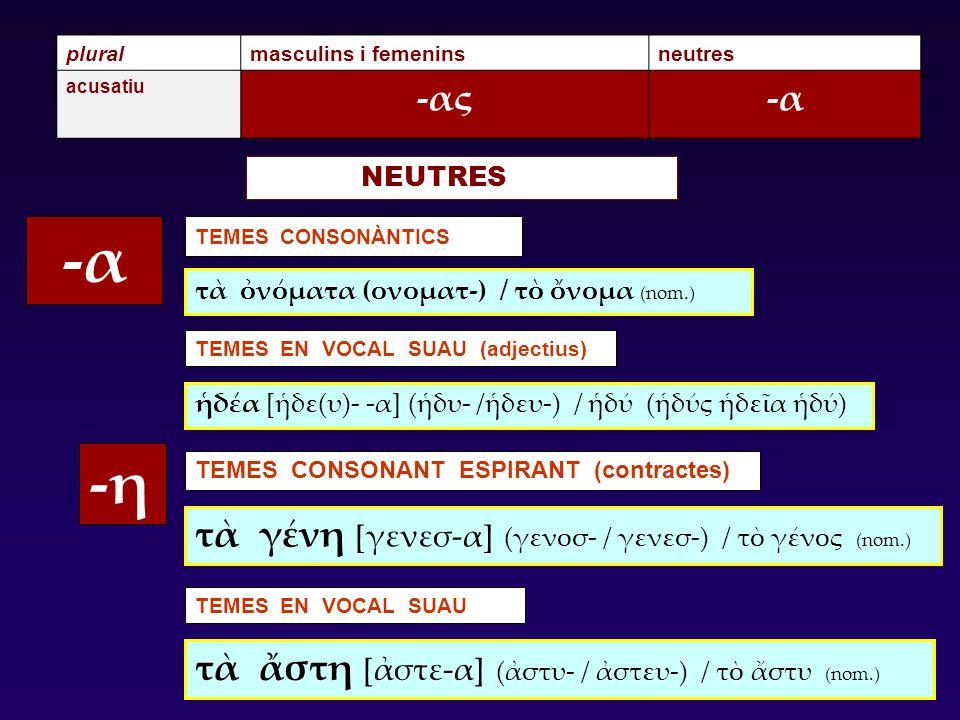 pluralmasculins i femeninsneutres acusatiu -ας-α TEMES CONSONÀNTICS -η TEMES CONSONANT ESPIRANT (contractes) TEMES EN VOCAL SUAU (adjectius) TEMES EN