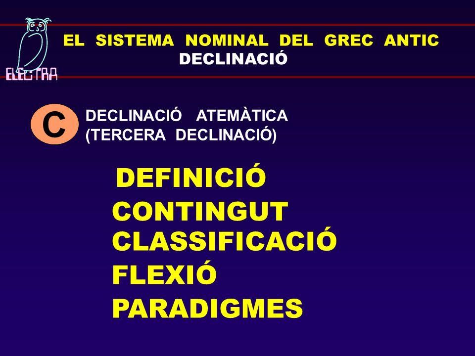 EL SISTEMA NOMINAL DEL GREC ANTIC DEFINICIÓ CONTINGUT CLASSIFICACIÓ FLEXIÓ PARADIGMES DECLINACIÓ DECLINACIÓ ATEMÀTICA (TERCERA DECLINACIÓ) C