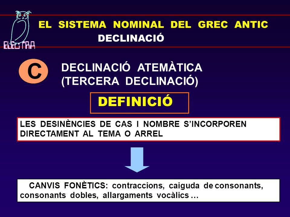 EL SISTEMA NOMINAL DEL GREC ANTIC DECLINACIÓ DECLINACIÓ ATEMÀTICA (TERCERA DECLINACIÓ) C DEFINICIÓ LES DESINÈNCIES DE CAS I NOMBRE S'INCORPOREN DIRECT