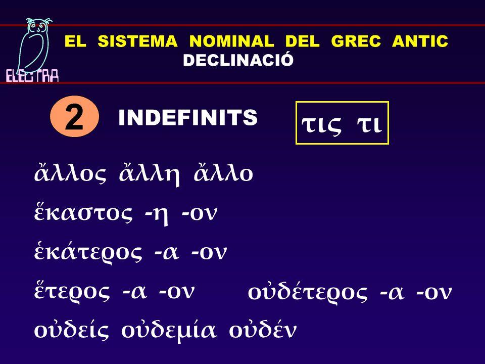 EL SISTEMA NOMINAL DEL GREC ANTIC DECLINACIÓ INDEFINITS 2 τις τι ἕκαστος -η -ον ἑκάτερος -α -ον οὐδείς οὐδεμία οὐδέν ἕτερος -α -ον οὐδέτερος -α -ον ἄλλος ἄλλη ἄλλο