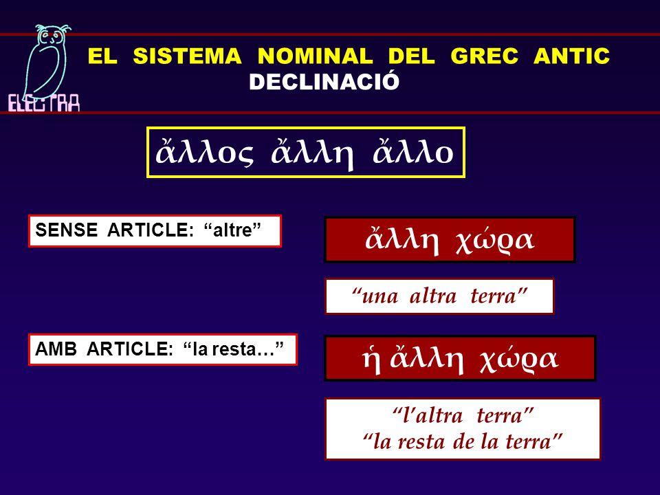 EL SISTEMA NOMINAL DEL GREC ANTIC DECLINACIÓ ἕτερος ἑτέρα ἕτερον QUAN ES TRACTA DE DUES PERSONES O DUES COSES ὁ ἕτερος λέγει, ὁ ἕτερος ἀκούει l'un parla, l'altre escolta