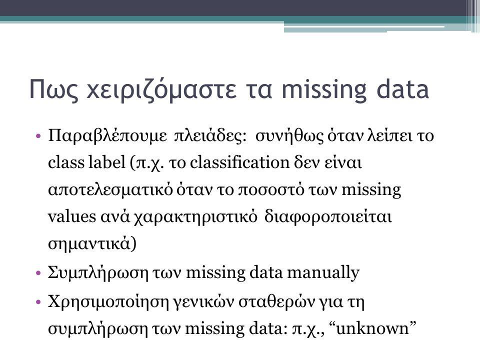 Πως χειριζόμαστε τα missing data Παραβλέπουμε πλειάδες: συνήθως όταν λείπει το class label (π.χ. το classification δεν είναι αποτελεσματικό όταν το πο