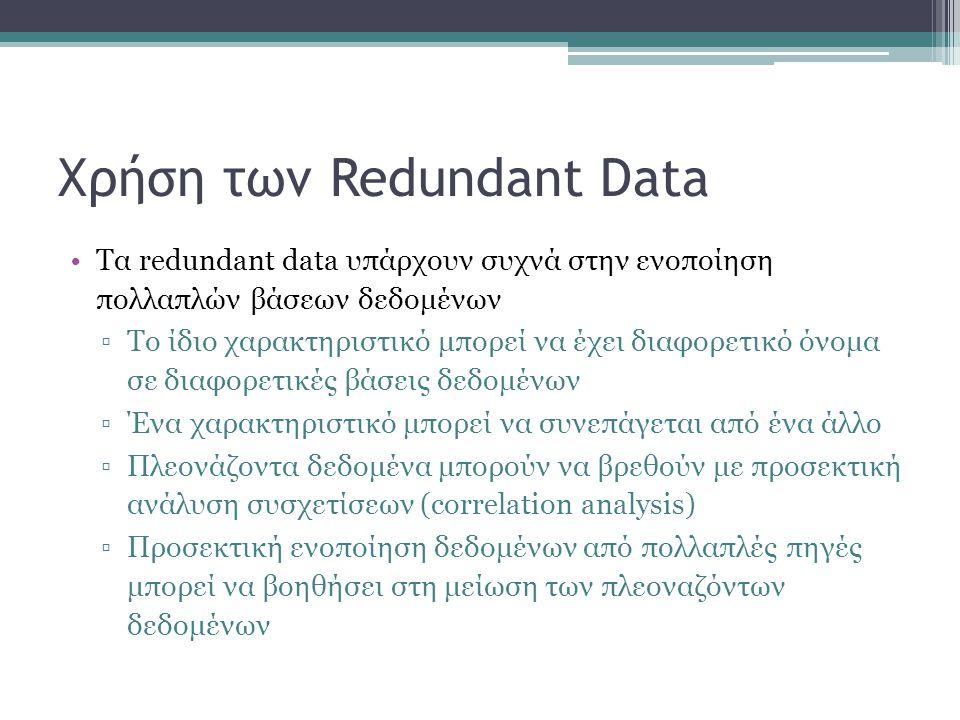 Χρήση των Redundant Data Τα redundant data υπάρχουν συχνά στην ενοποίηση πολλαπλών βάσεων δεδομένων ▫Το ίδιο χαρακτηριστικό μπορεί να έχει διαφορετικό