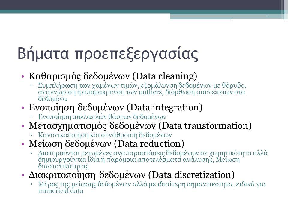 Βήματα προεπεξεργασίας Καθαρισμός δεδομένων (Data cleaning) ▫Συμπλήρωση των χαμένων τιμών, εξομάλυνση δεδομένων με θόρυβο, αναγνώριση ή απομάκρυνση τω