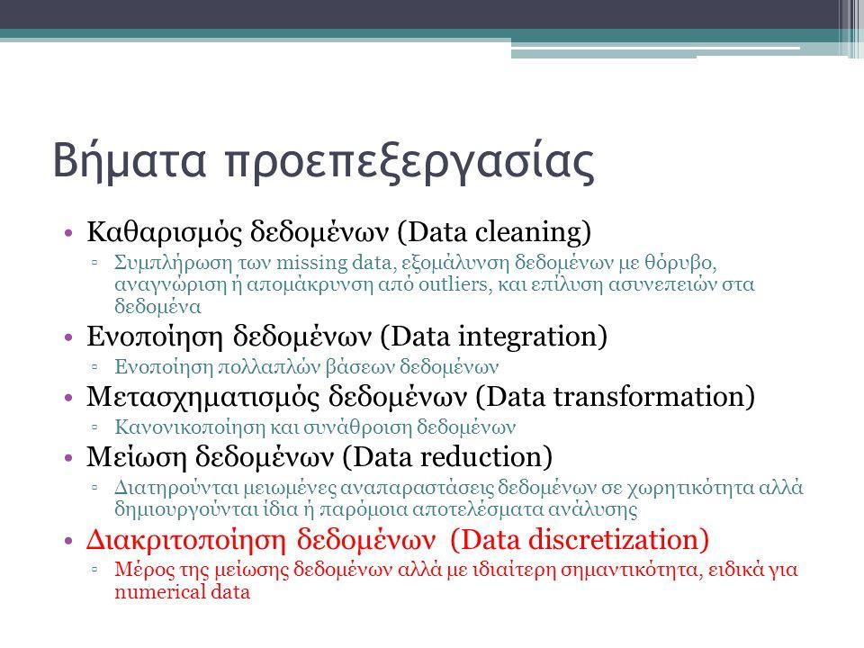 Βήματα προεπεξεργασίας Καθαρισμός δεδομένων (Data cleaning) ▫Συμπλήρωση των missing data, εξομάλυνση δεδομένων με θόρυβο, αναγνώριση ή απομάκρυνση από