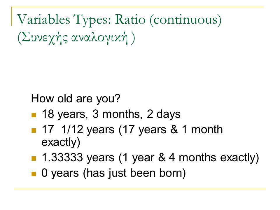 Variables Types: Nominal (categorical) (ονοματική – κατηγορική) Τόπος γέννησης Paphos Lefkosia Lemesos Larnaca