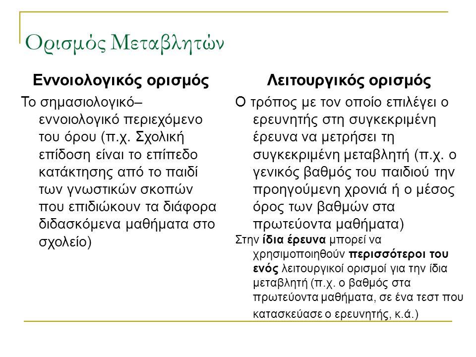 Ορισμός Μεταβλητών Εννοιολογικός ορισμός Το σημασιολογικό– εννοιολογικό περιεχόμενο του όρου (π.χ.