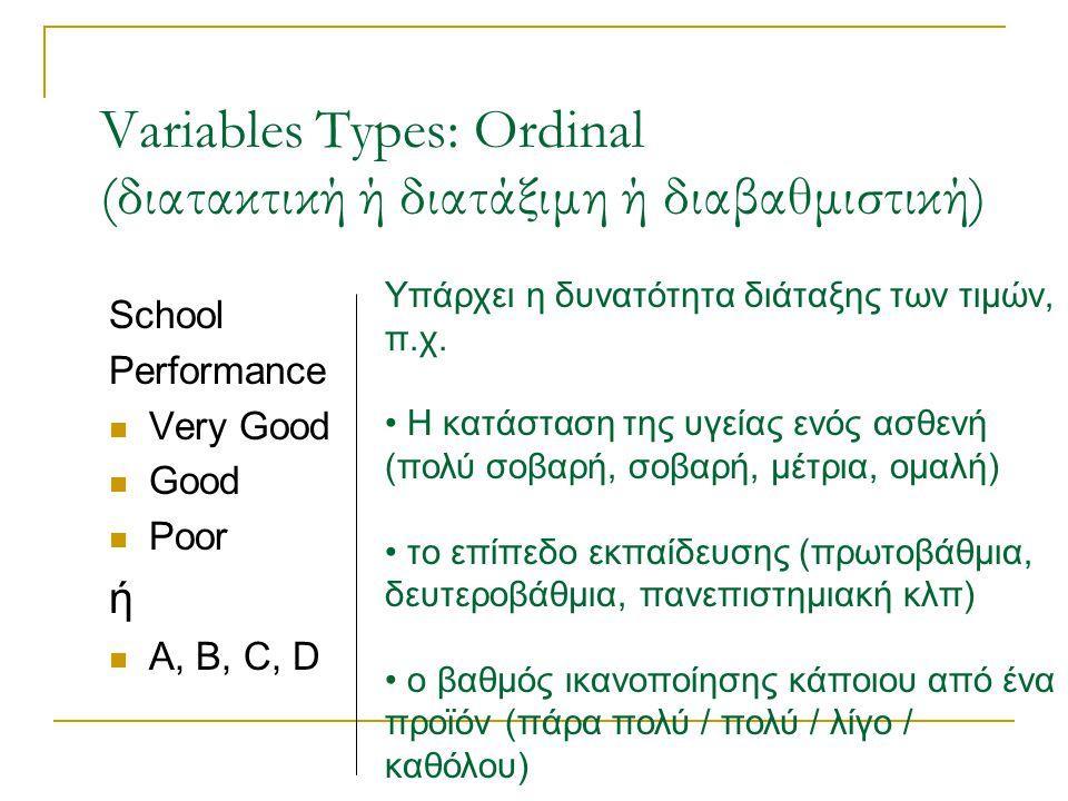 Variables Types: Ordinal (διατακτική ή διατάξιμη ή διαβαθμιστική) School Performance Very Good Good Poor ή Α, Β, C, D Υπάρχει η δυνατότητα διάταξης των τιμών, π.χ.