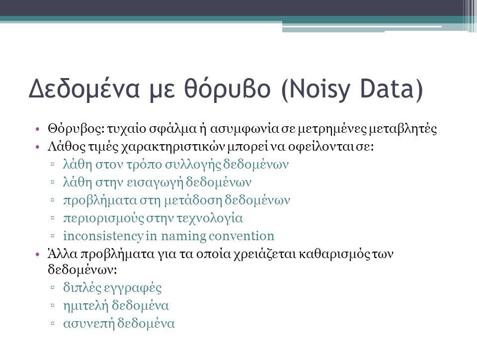 Δεδομένα με θόρυβο (Noisy Data) Θόρυβος: τυχαίο σφάλμα ή ασυμφωνία σε μετρημένες μεταβλητές Λάθος τιμές χαρακτηριστικών μπορεί να οφείλονται σε: ▫λάθη στον τρόπο συλλογής δεδομένων ▫λάθη στην εισαγωγή δεδομένων ▫προβλήματα στη μετάδοση δεδομένων ▫περιορισμούς στην τεχνολογία ▫inconsistency in naming convention Άλλα προβλήματα για τα οποία χρειάζεται καθαρισμός των δεδομένων: ▫διπλές εγγραφές ▫ημιτελή δεδομένα ▫ασυνεπή δεδομένα